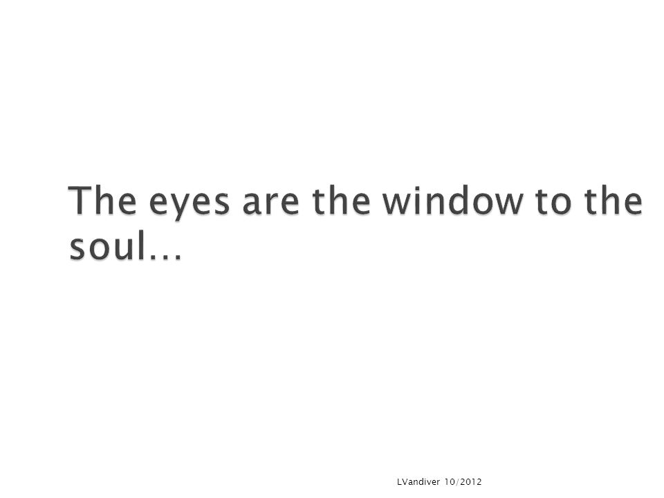 The eyes are the window to the soul…