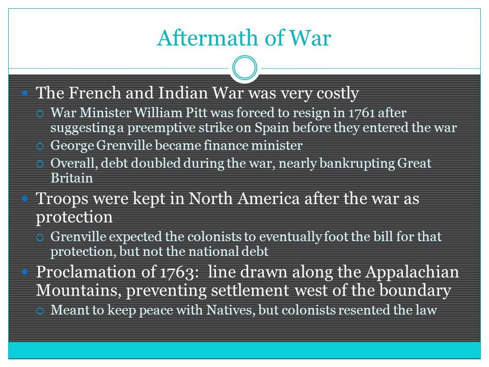 Aftermath of War The French and Indian War was very costly