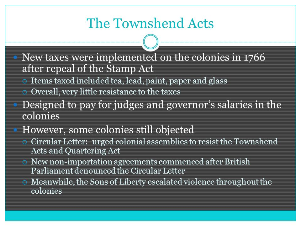 The Townshend Acts New taxes were implemented on the colonies in 1766 after repeal of the Stamp Act.