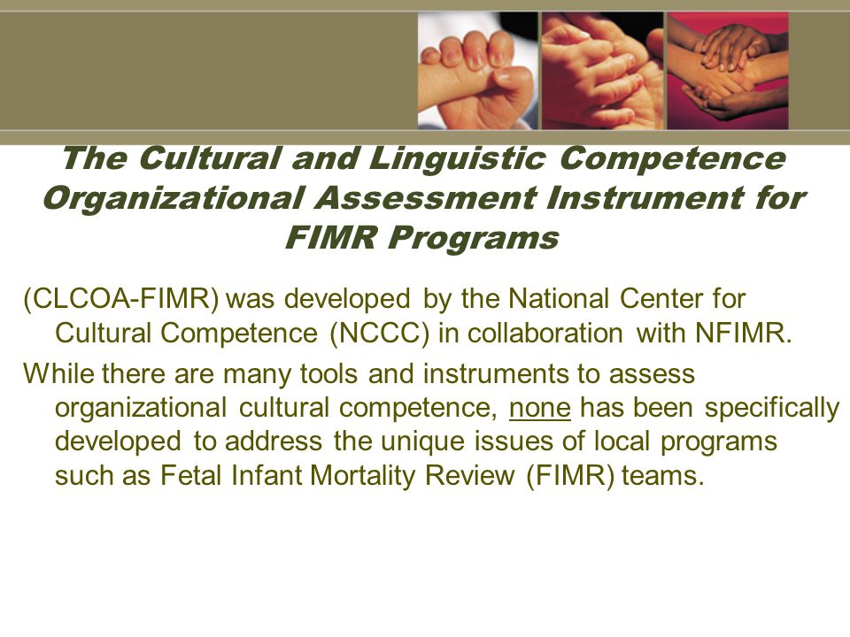 The Cultural and Linguistic Competence Organizational Assessment Instrument for FIMR Programs