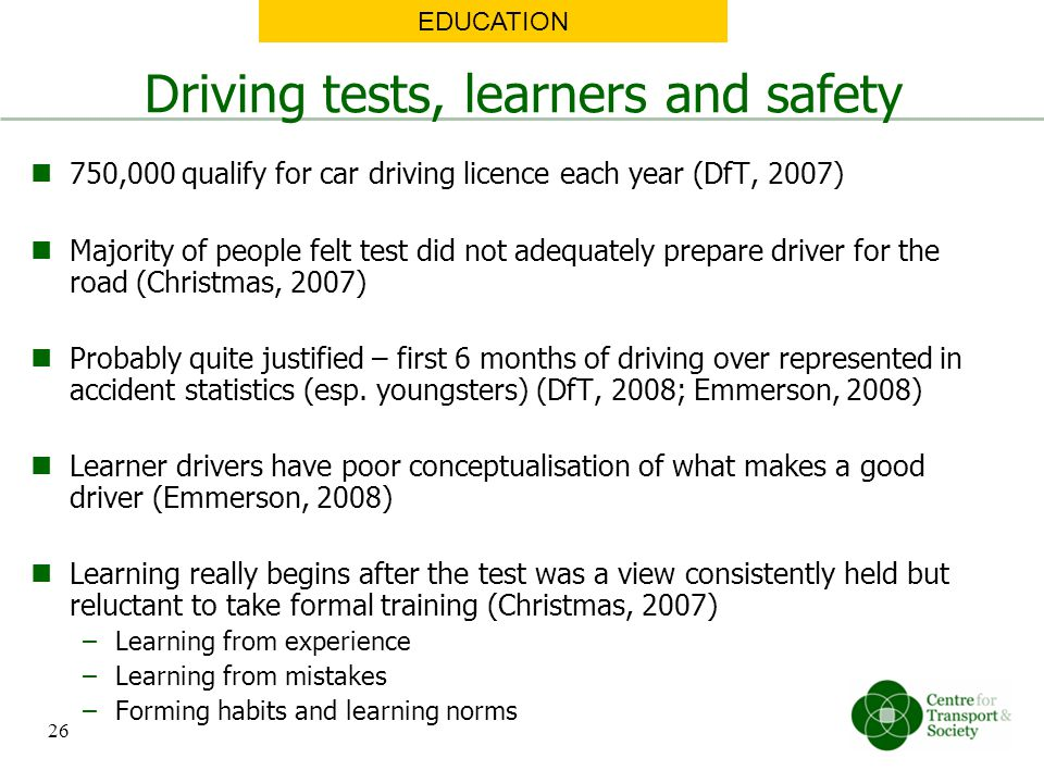 Driving tests, learners and safety