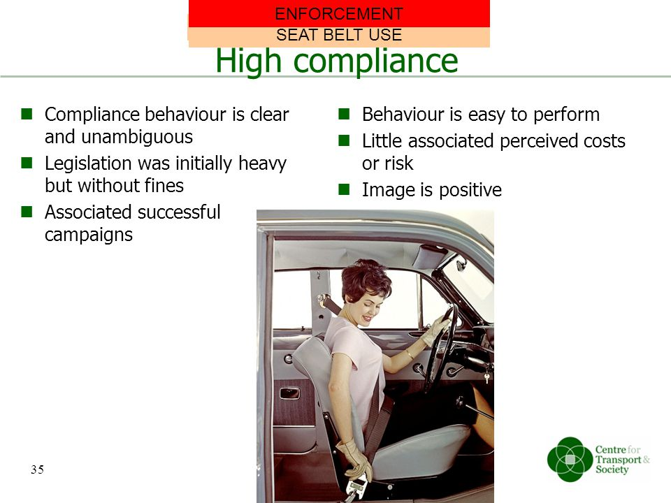 High compliance Compliance behaviour is clear and unambiguous