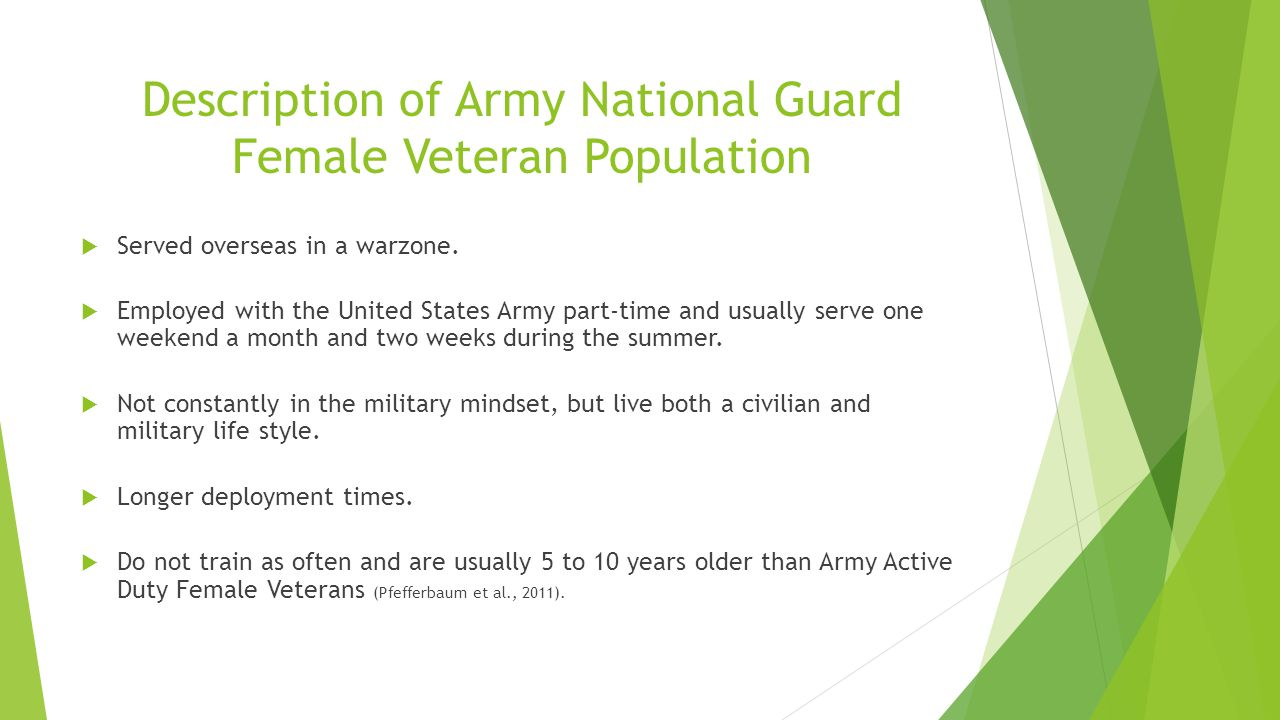 Description of Army National Guard Female Veteran Population