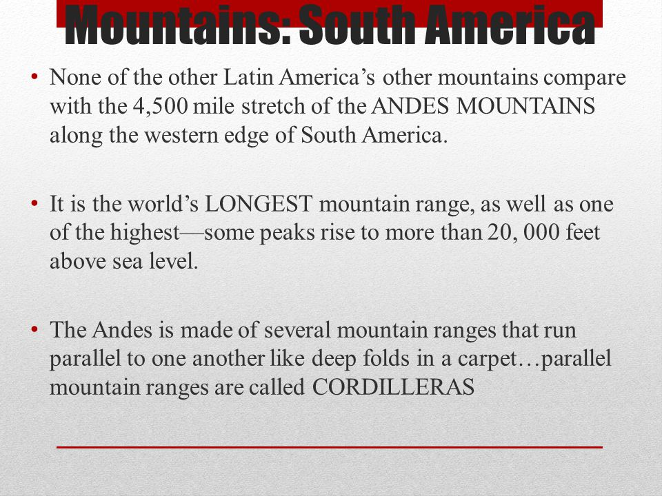 Mountains: South America