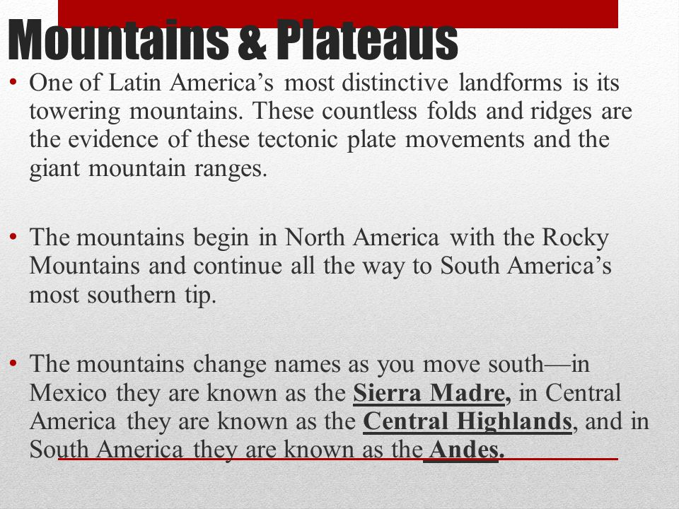 Mountains & Plateaus