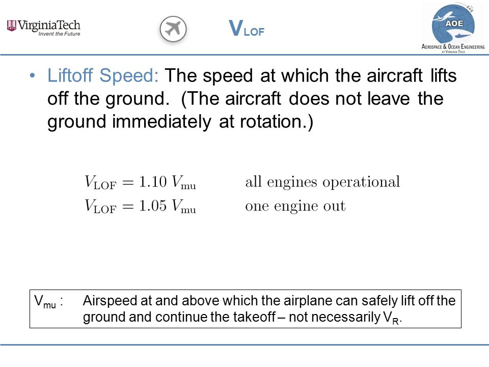 VLOF Liftoff Speed: The speed at which the aircraft lifts off the ground. (The aircraft does not leave the ground immediately at rotation.)