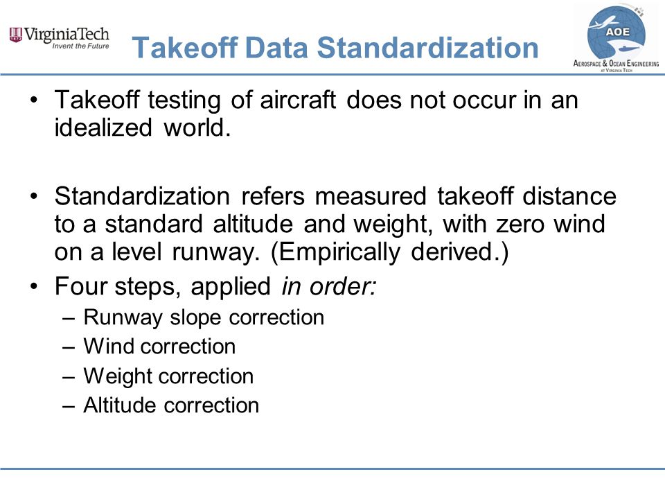 Takeoff Data Standardization