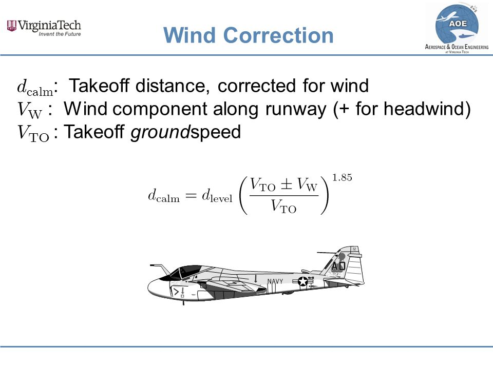 Wind Correction dcalm: Takeoff distance, corrected for wind