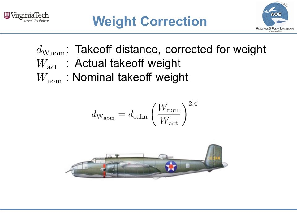 Weight Correction dWnom : Takeoff distance, corrected for weight