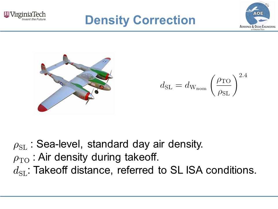 Density Correction ½SL : Sea-level, standard day air density.