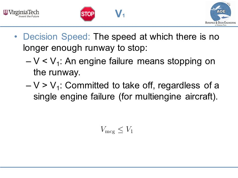 V1 Decision Speed: The speed at which there is no longer enough runway to stop: V < V1: An engine failure means stopping on the runway.