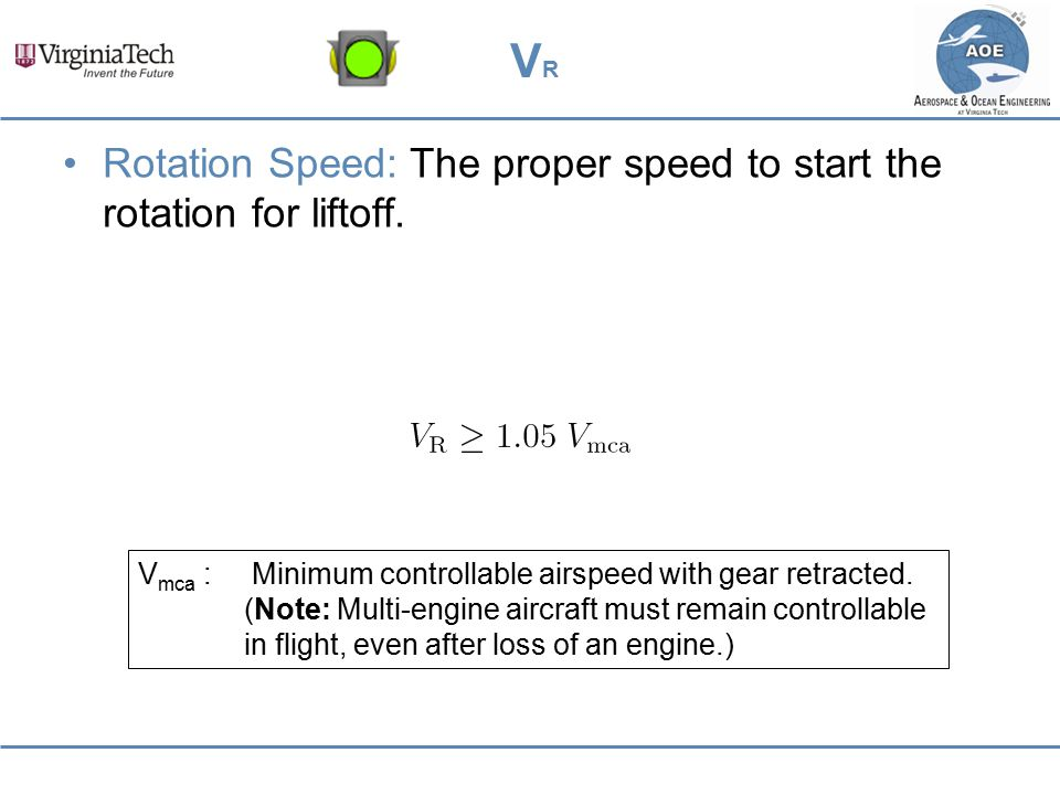 VR Rotation Speed: The proper speed to start the rotation for liftoff.