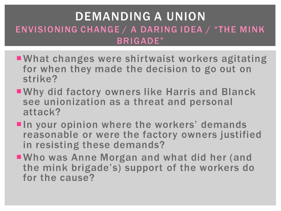 Demanding a union Envisioning change / a daring idea / The Mink Brigade