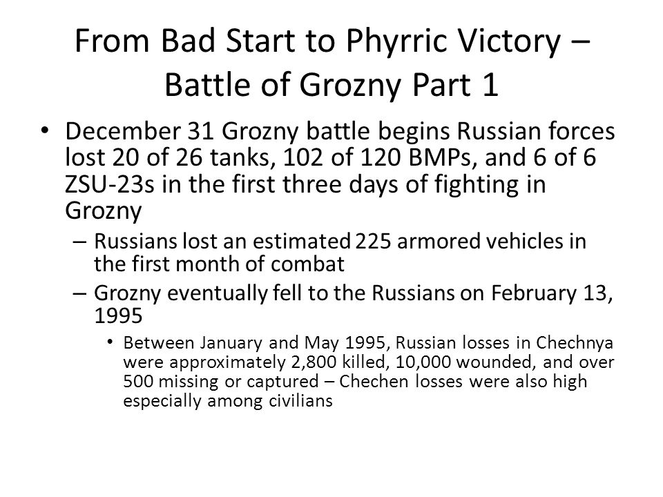 From Bad Start to Phyrric Victory – Battle of Grozny Part 1
