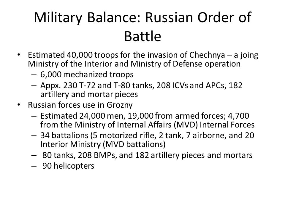 Military Balance: Russian Order of Battle