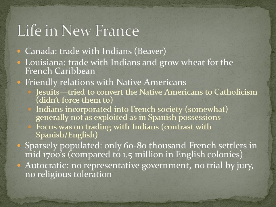 Life in New France Canada: trade with Indians (Beaver)