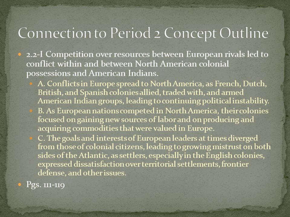 Connection to Period 2 Concept Outline