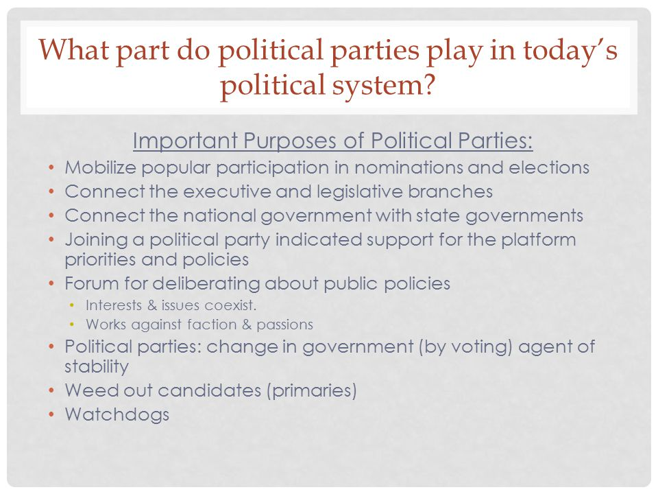 What part do political parties play in today's political system