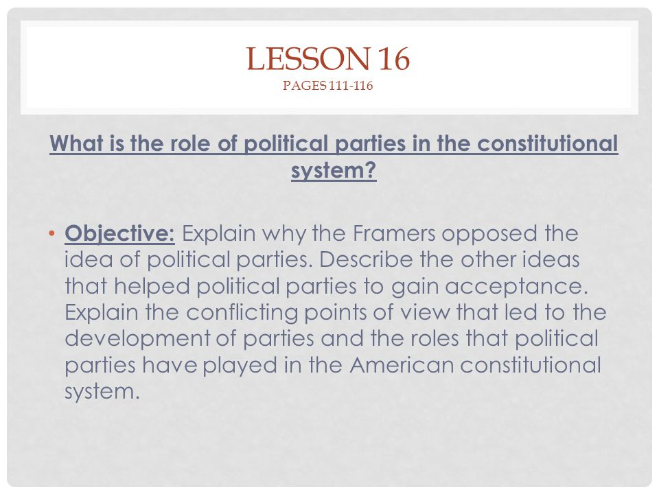 What is the role of political parties in the constitutional system