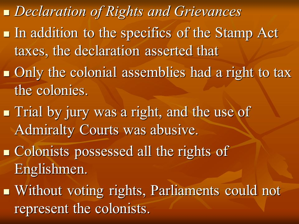 Declaration of Rights and Grievances