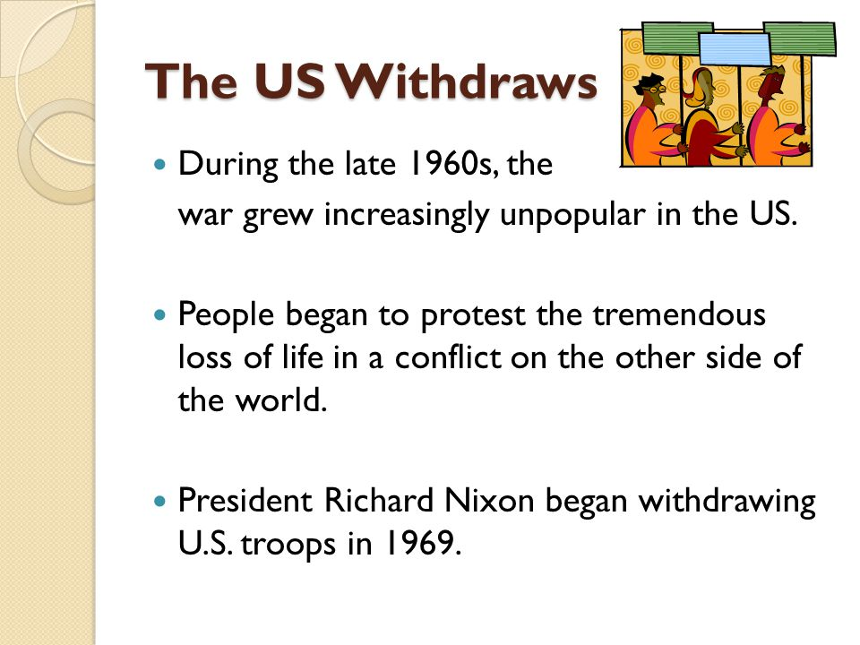 The US Withdraws During the late 1960s, the