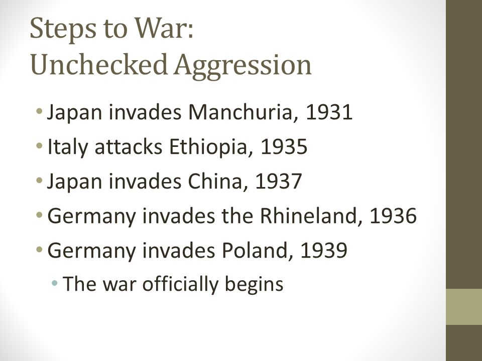 Steps to War: Unchecked Aggression