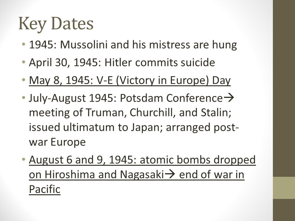 Key Dates 1945: Mussolini and his mistress are hung