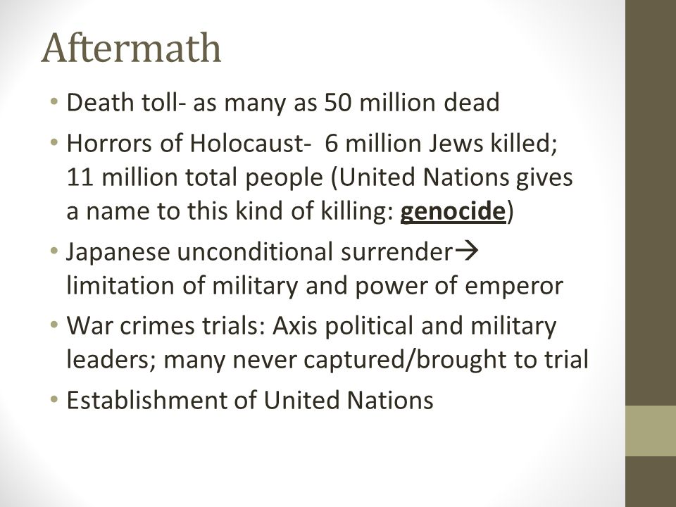 Aftermath Death toll- as many as 50 million dead