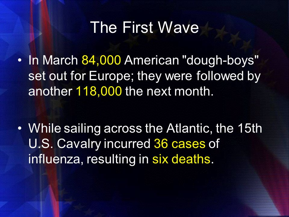 The First Wave In March 84,000 American dough-boys set out for Europe; they were followed by another 118,000 the next month.