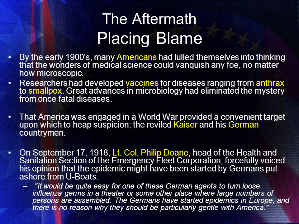 The Aftermath Placing Blame