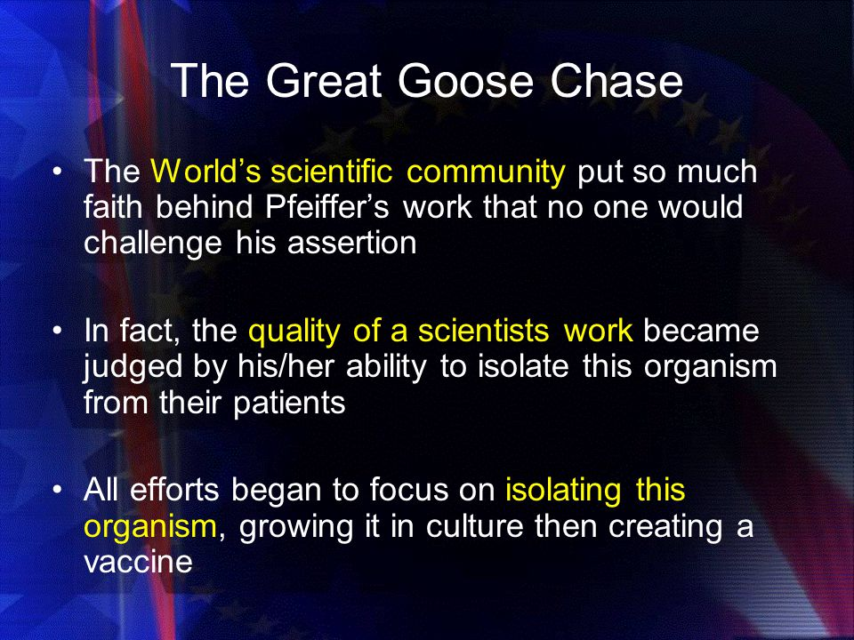 The Great Goose Chase The World's scientific community put so much faith behind Pfeiffer's work that no one would challenge his assertion.