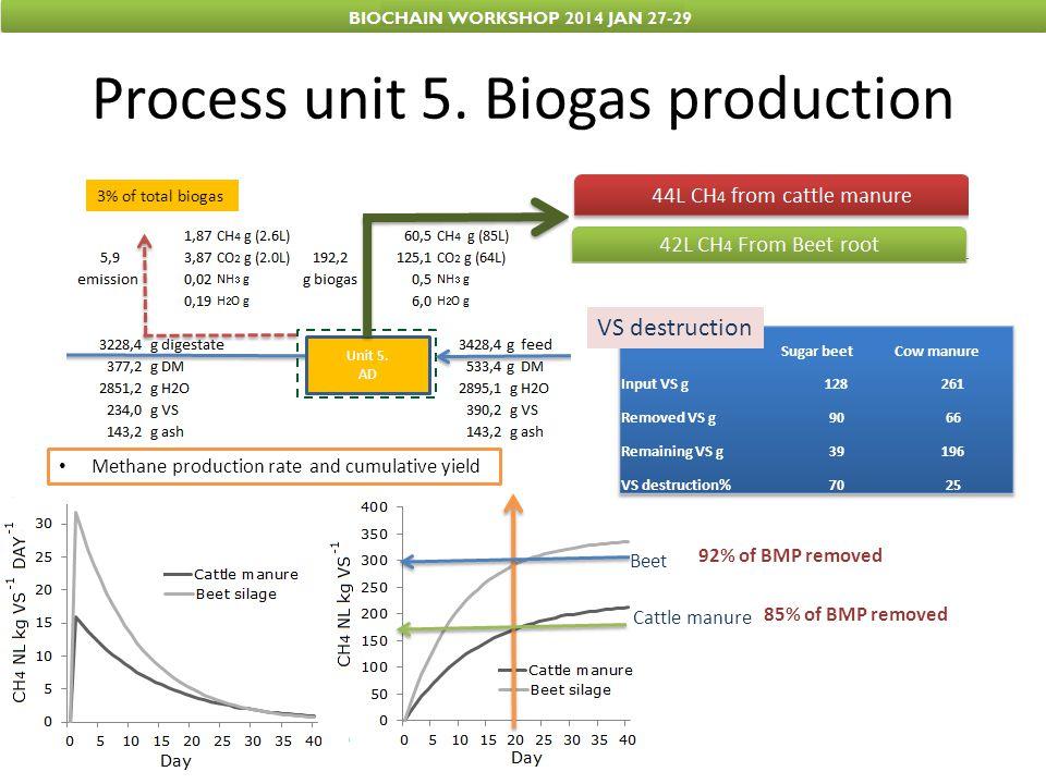 Process unit 5. Biogas production