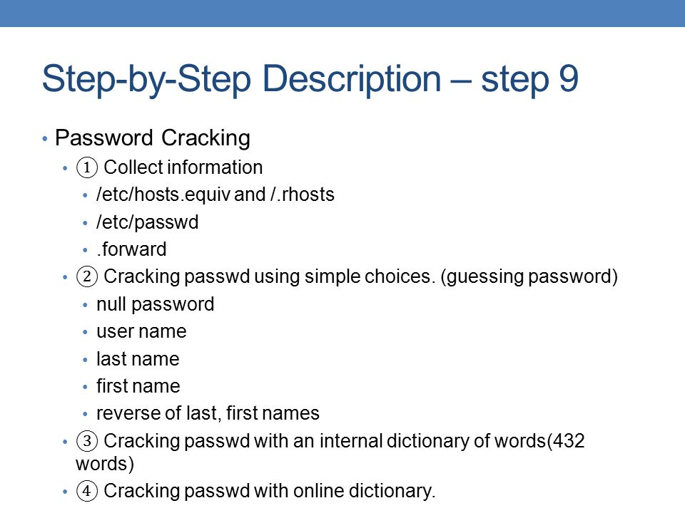 Step-by-Step Description – step 9