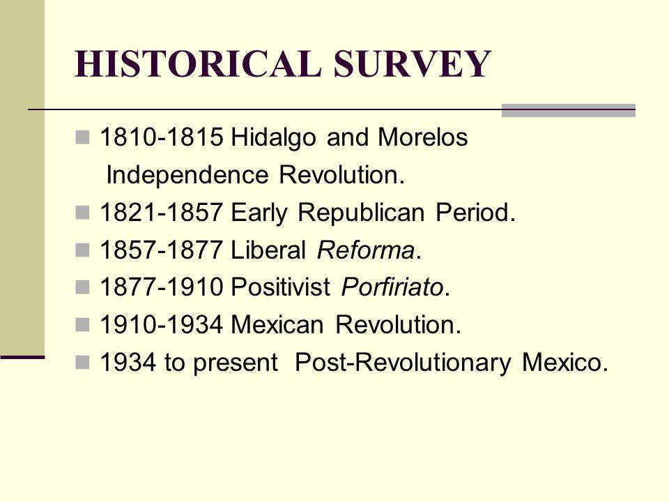 HISTORICAL SURVEY 1810-1815 Hidalgo and Morelos