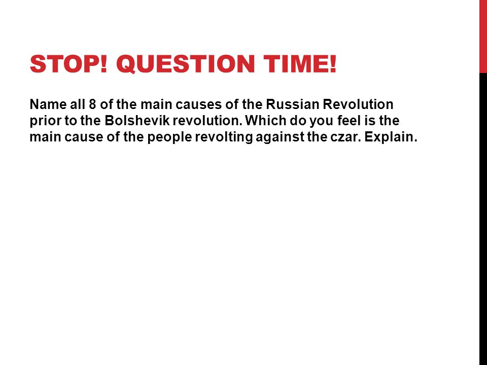 Stop! Question Time!
