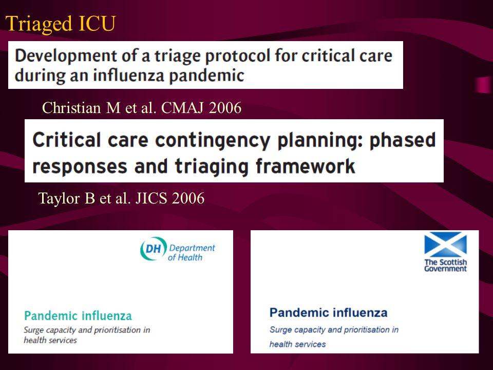Triaged ICU Christian M et al. CMAJ 2006 Taylor B et al. JICS 2006