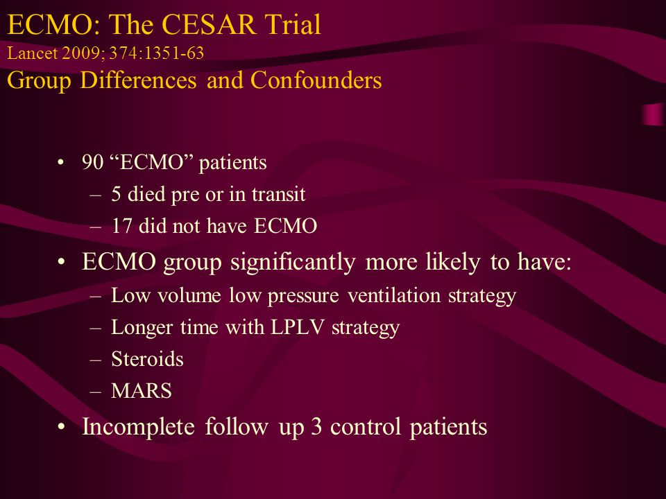 ECMO: The CESAR Trial Lancet 2009; 374:1351-63 Group Differences and Confounders