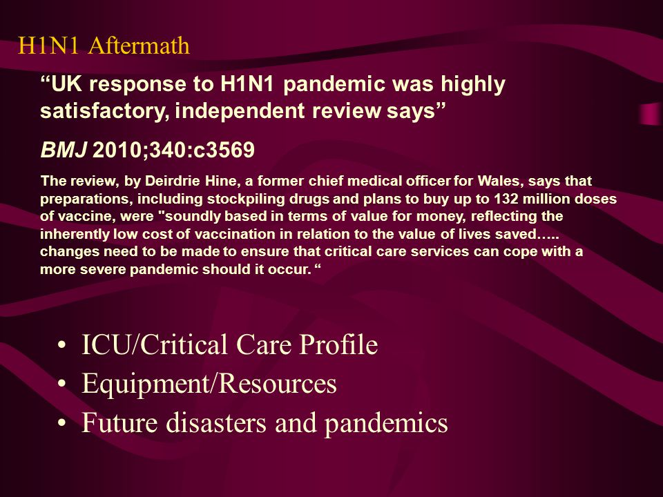 ICU/Critical Care Profile Equipment/Resources