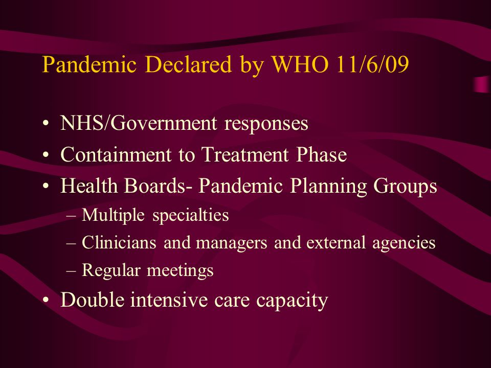 Pandemic Declared by WHO 11/6/09