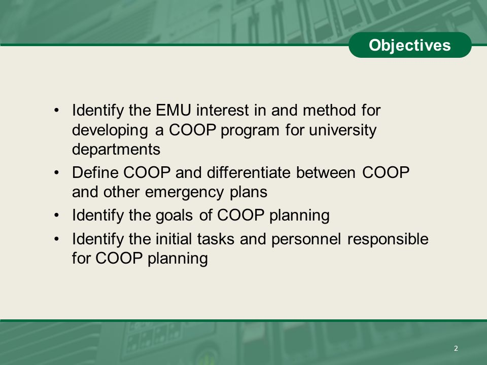 Define COOP and differentiate between COOP and other emergency plans