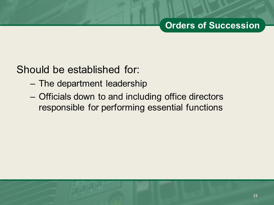 Should be established for: