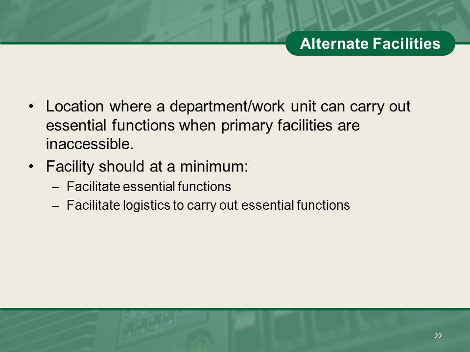 Facility should at a minimum: