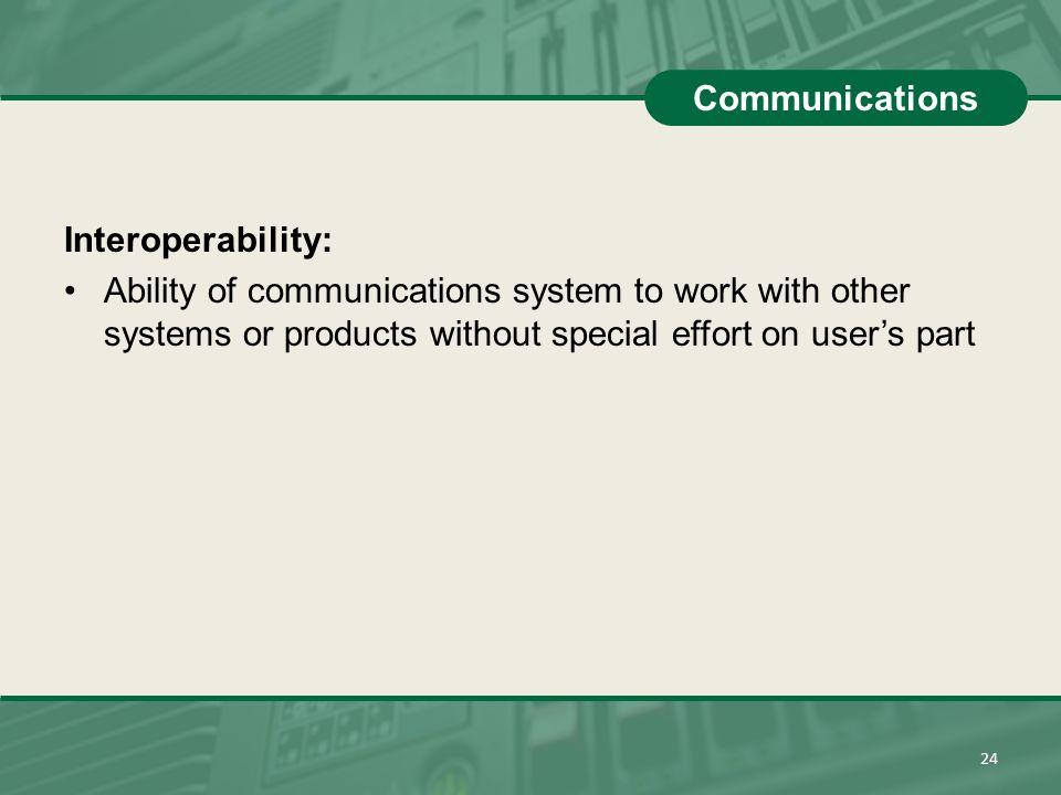 Communications Interoperability: