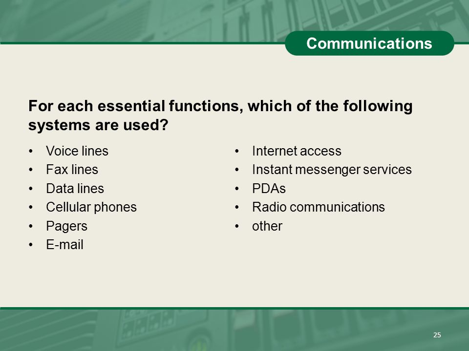 For each essential functions, which of the following systems are used