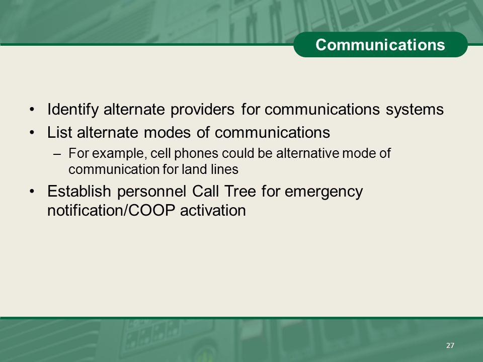 Identify alternate providers for communications systems