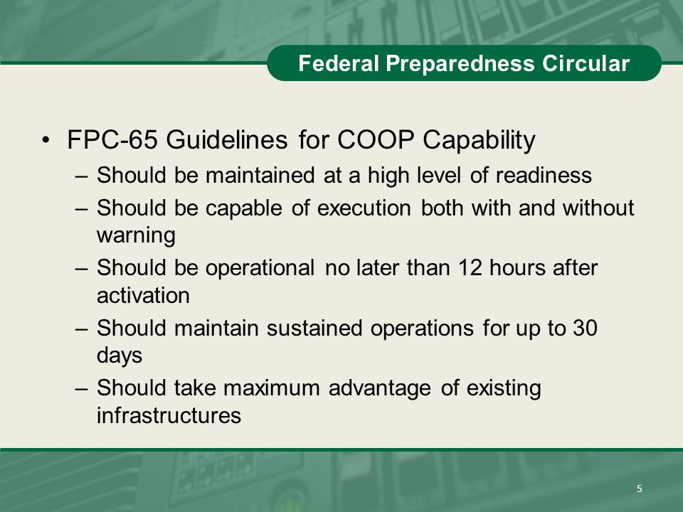 Federal Preparedness Circular