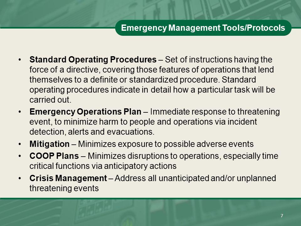 Emergency Management Tools/Protocols