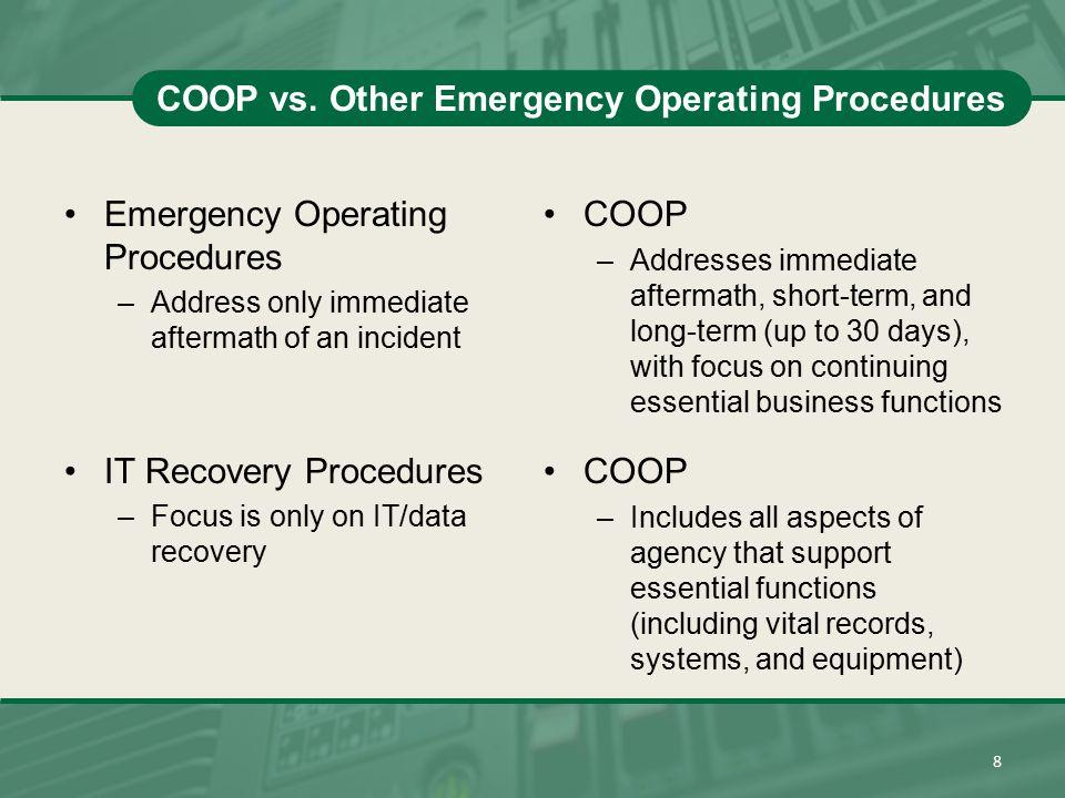 COOP vs. Other Emergency Operating Procedures