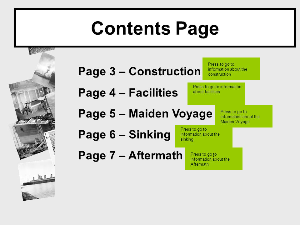 Contents Page Page 3 – Construction Page 4 – Facilities