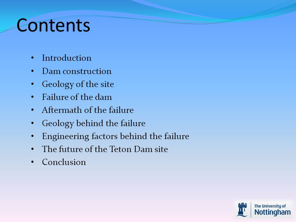 Contents Introduction Dam construction Geology of the site